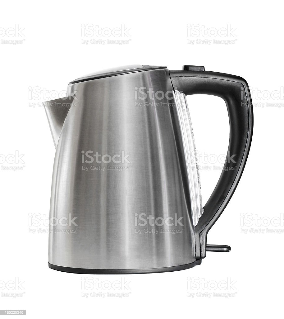 stainless electric kettle isolated on white royalty-free stock photo