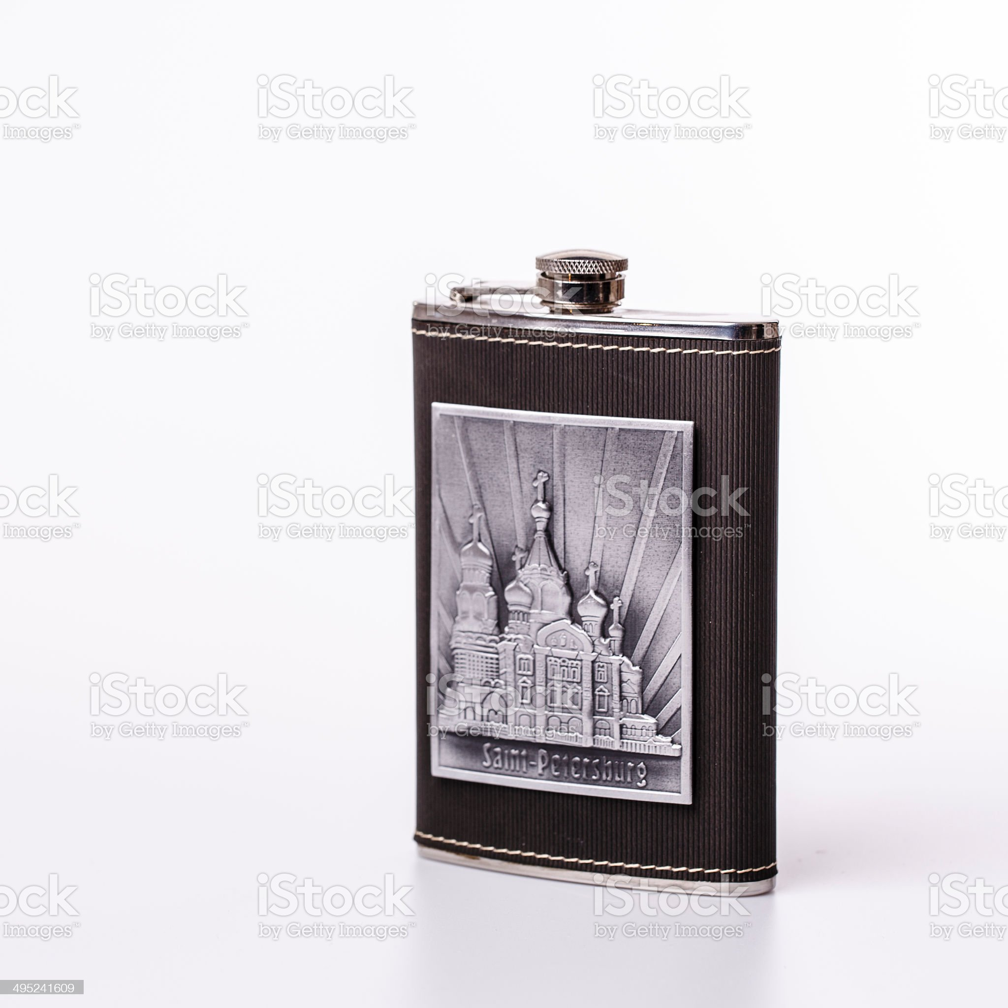Stainless hip flask isolated on white background royalty-free stock photo