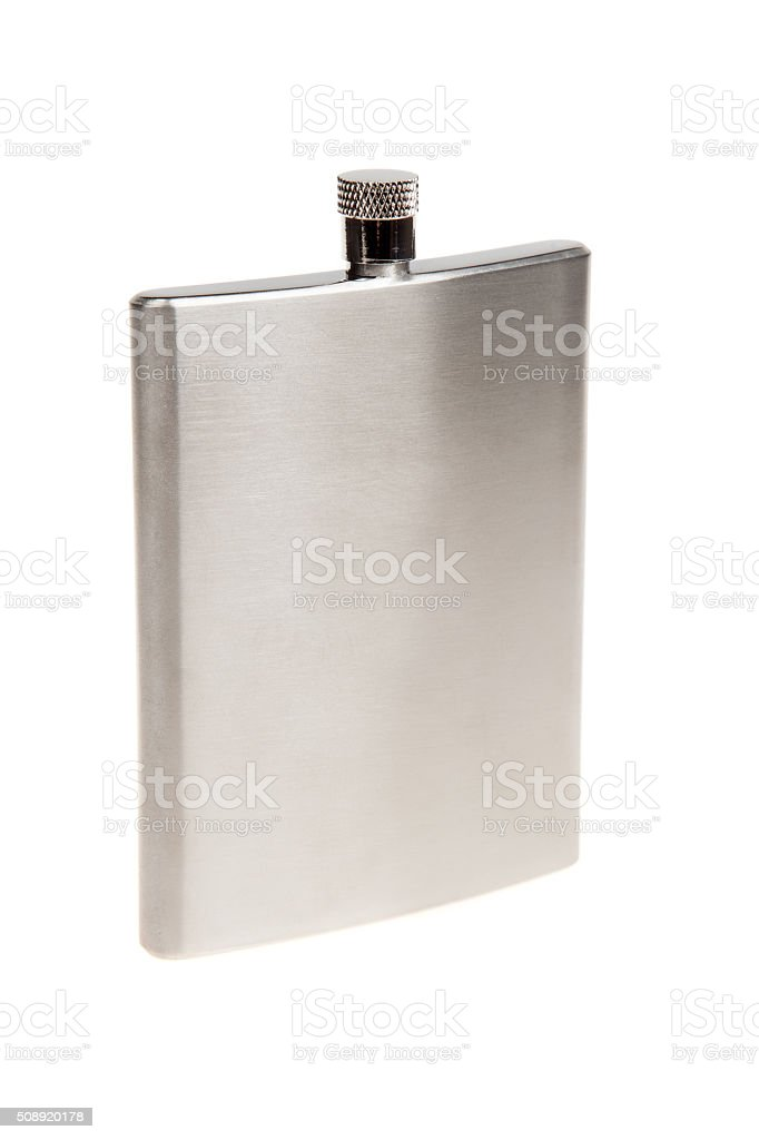 Stainless hip flask, isolated on white stock photo