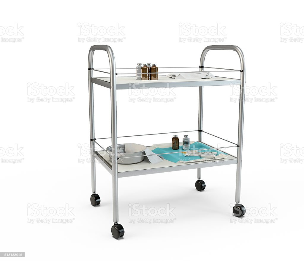 Stainless metal medical supply cabinet placed on a trolley stock photo