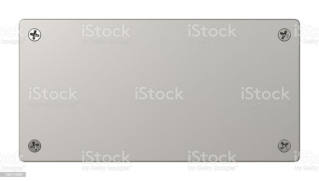 Stainless metal plaque with four screws on the corners stock photo