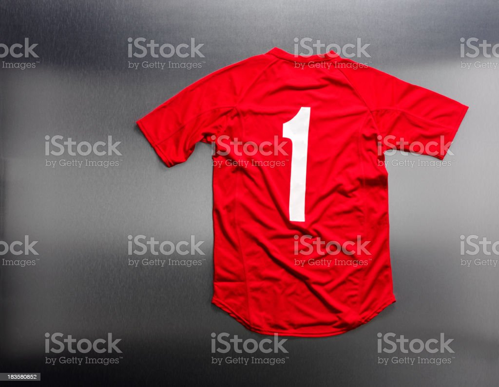 Stainless Steel and Football Shirt stock photo