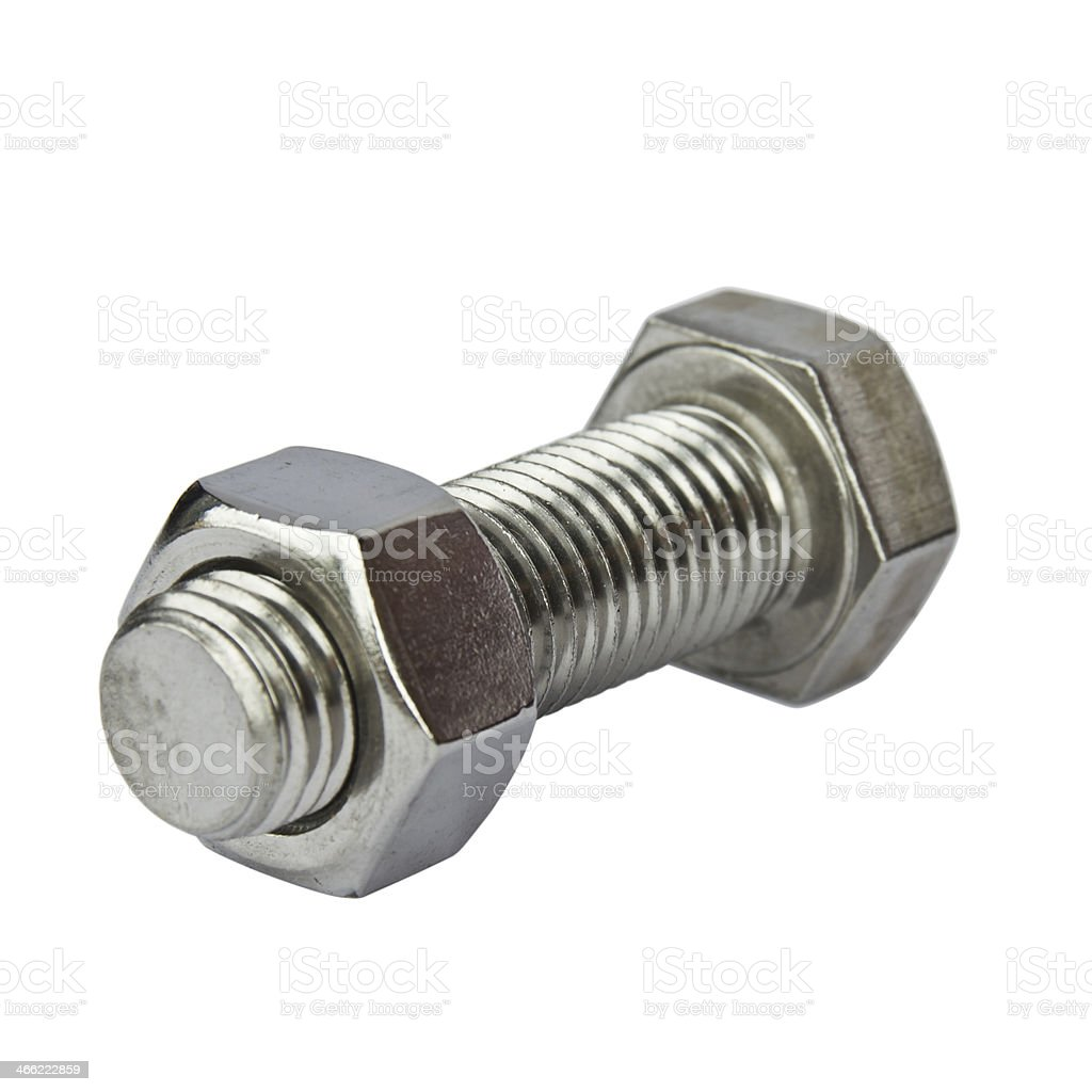 Stainless steel bolt and nut royalty-free stock photo