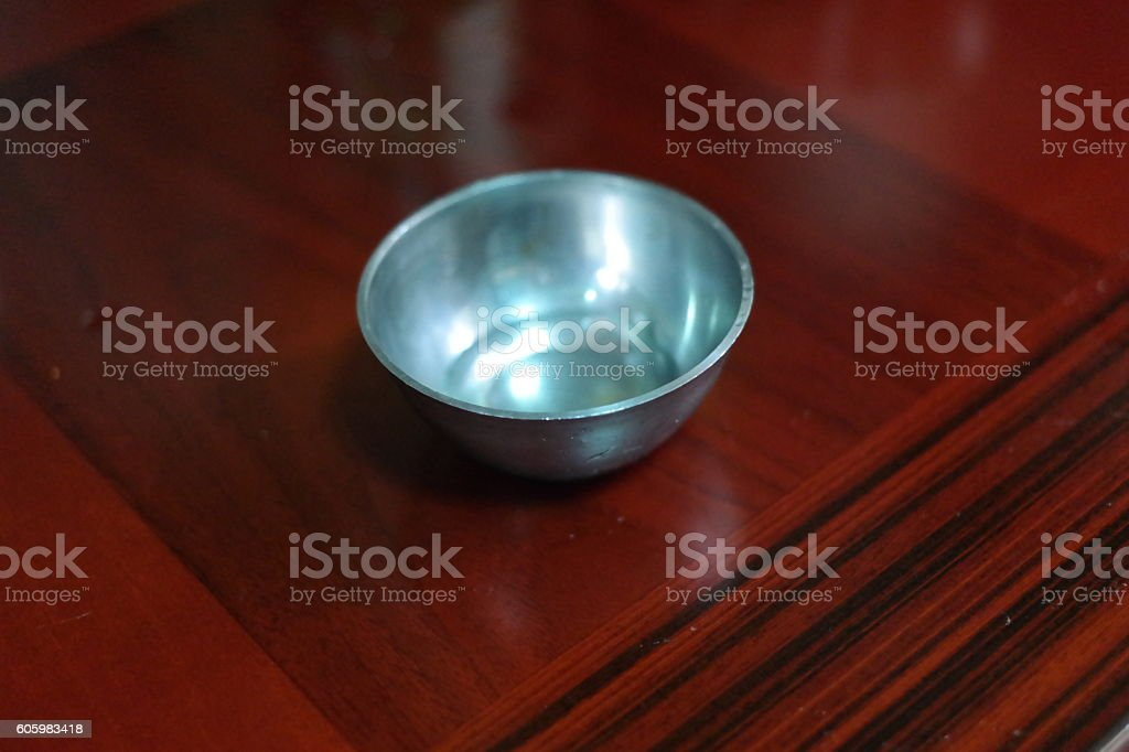 Stainless steel bowl. stock photo