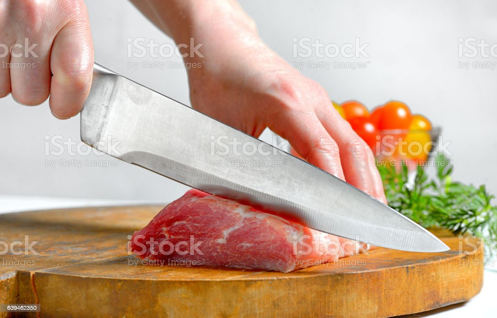Stainless steel butcher knife stock photo