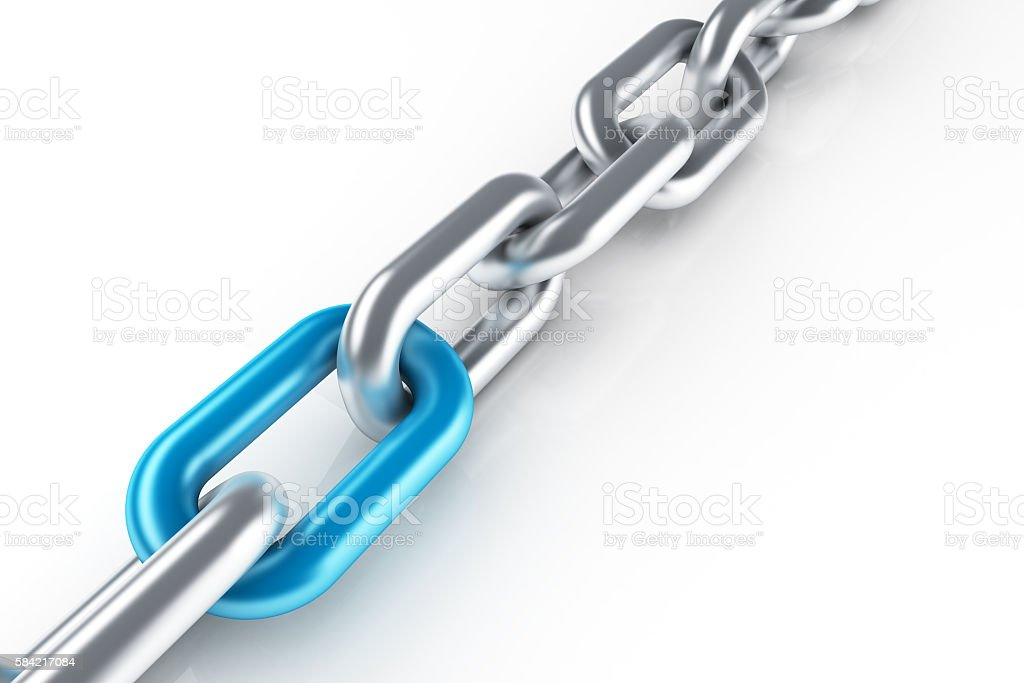 Stainless steel chain with unique blue link stock photo