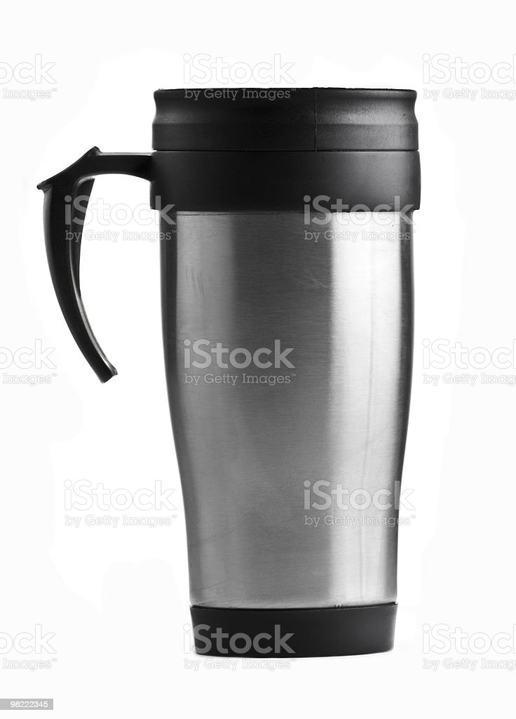 Stainless steel coffee mug on white background  stock photo