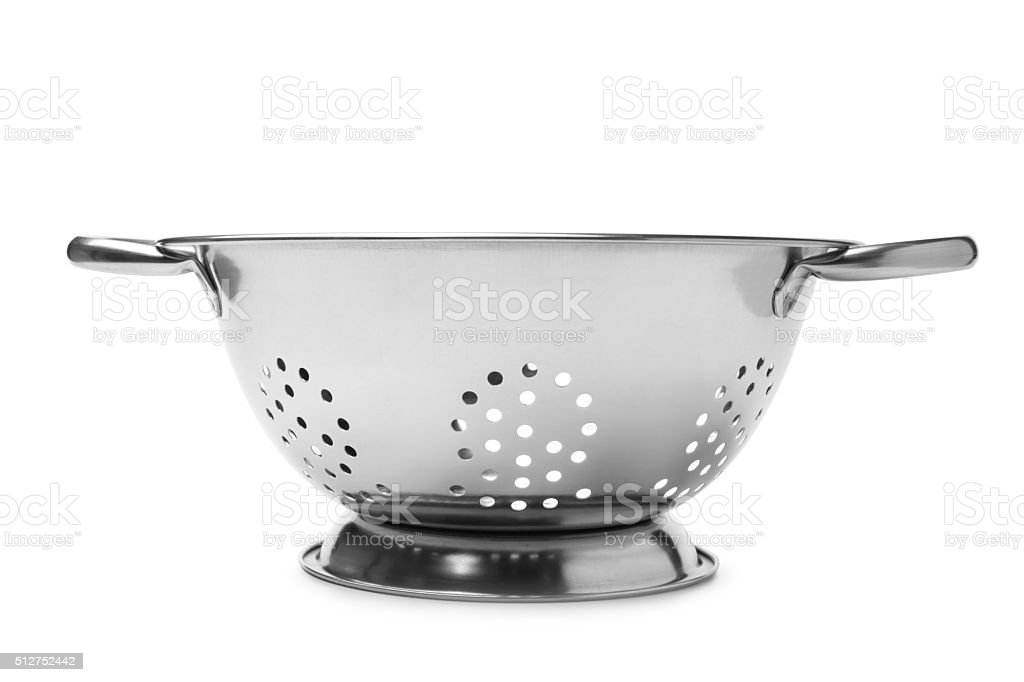 Stainless steel colander stock photo