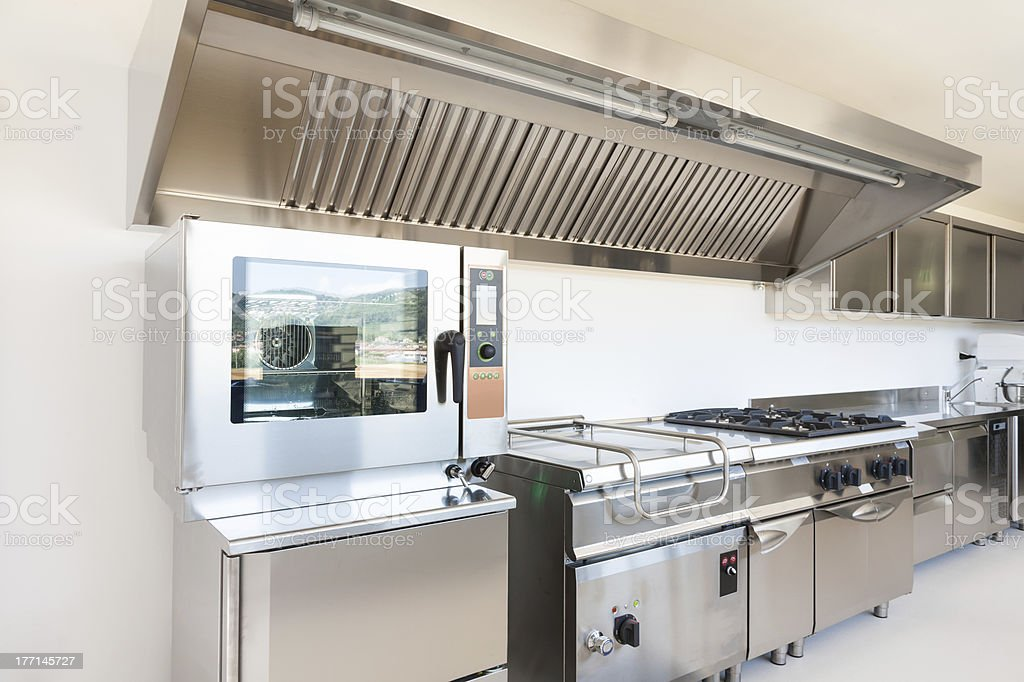 Stainless steel commercial kitchen stock photo