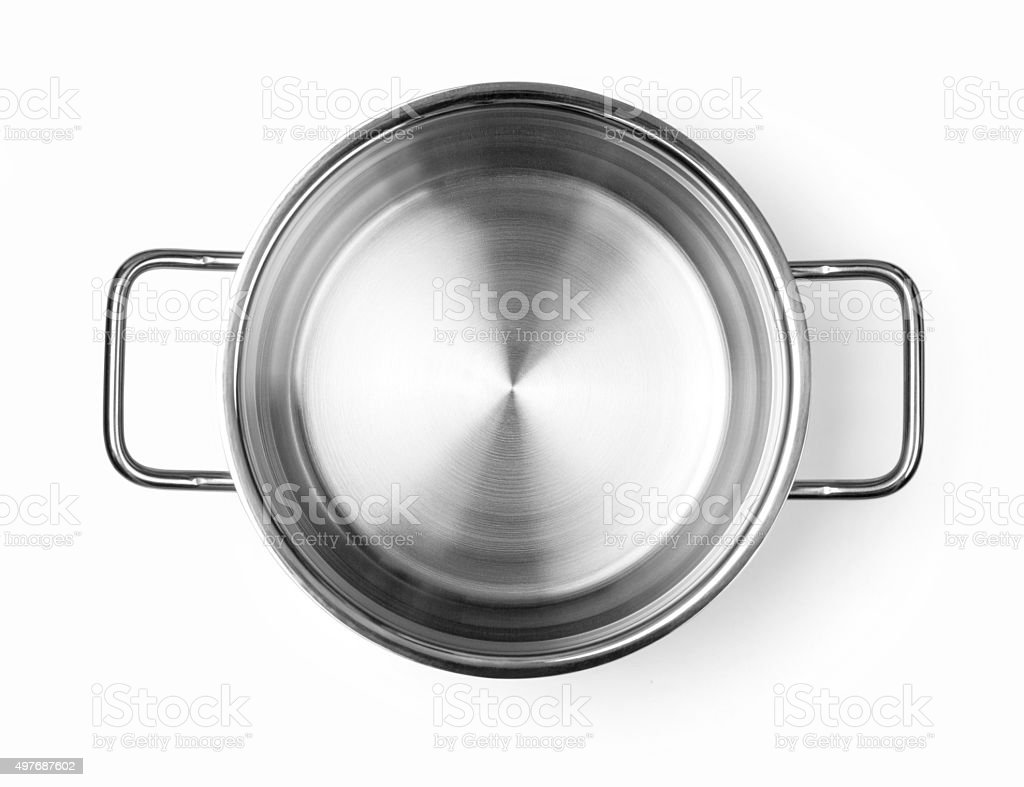 Stainless steel cooking pot stock photo