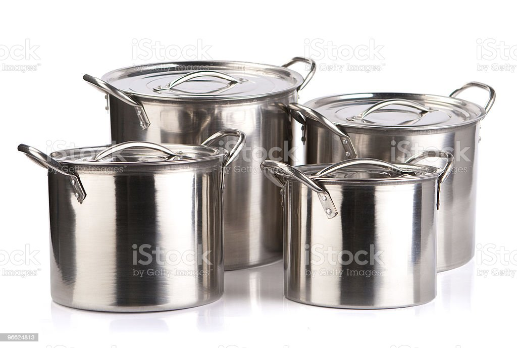 Stainless steel cooking pots royalty-free stock photo