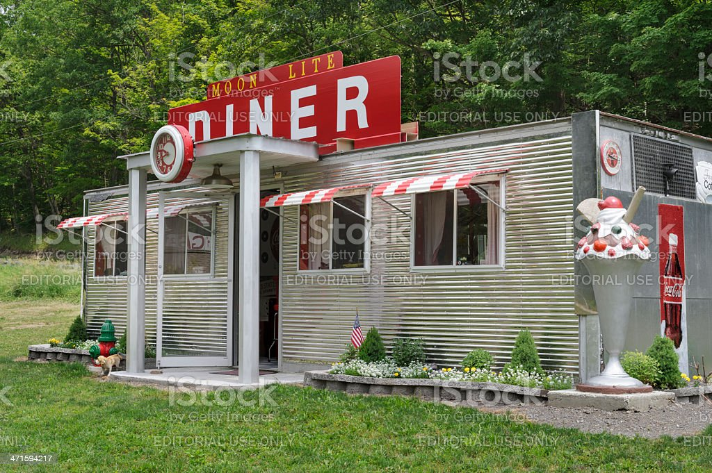 Stainless Steel Diner, Roadside Restaurant, America Nostalgia stock photo
