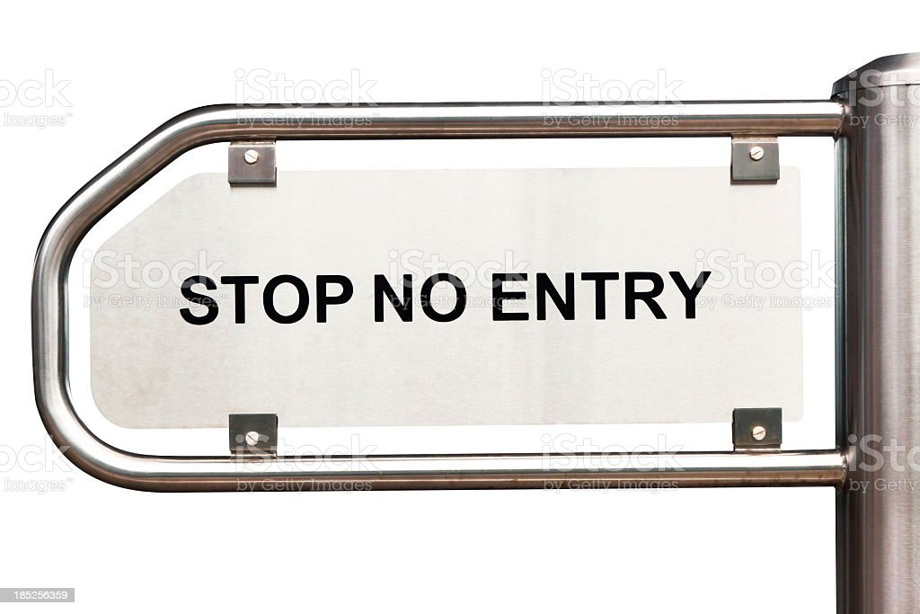 Stainless steel entry sign STOP NO ENTRY isolated on white royalty-free stock photo