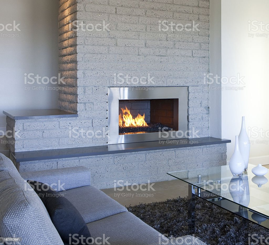 stainless steel fireplace royalty-free stock photo