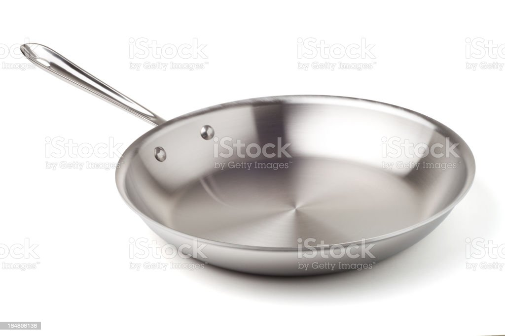 Stainless steel frying pan stock photo