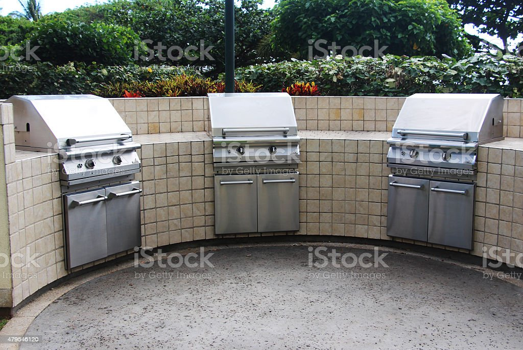 Stainless steel gas BBQ grills stock photo