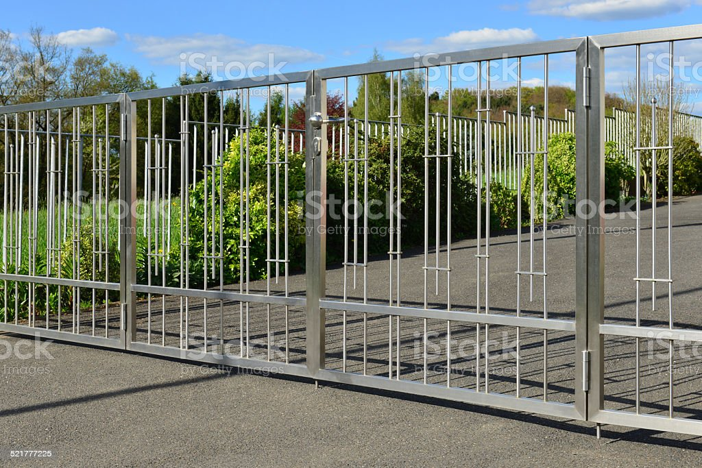 stainless steel gate stock photo