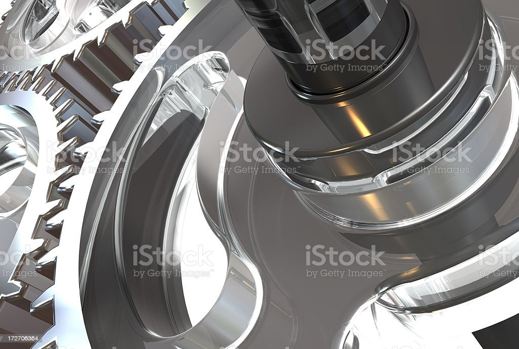 Stainless steel gears connection concept stock photo