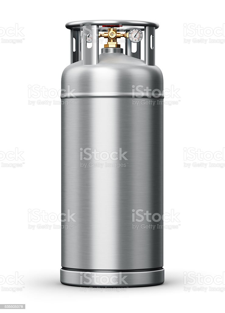 Stainless steel high pressure industrial container for liquefied gas stock photo