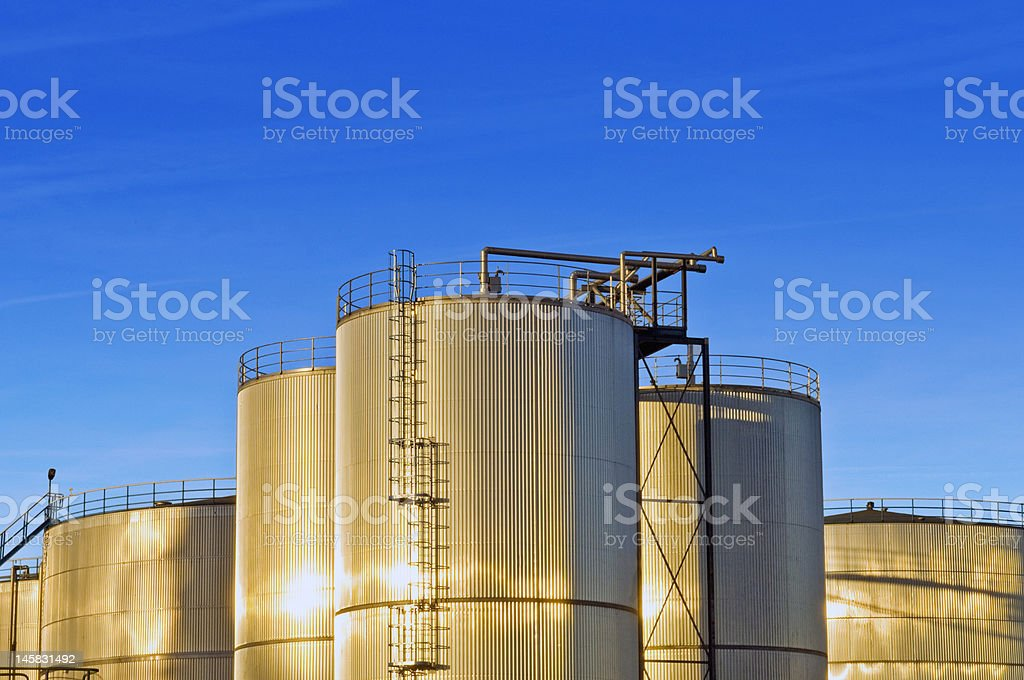 Stainless steel industrial Silos royalty-free stock photo