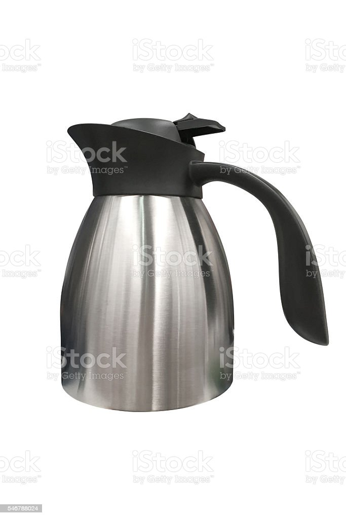 stainless steel kettle isolated on white background stock photo