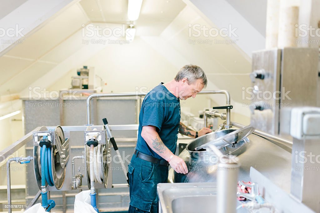 Stainless steel mash tun, contemporary brewery equipment, stock photo