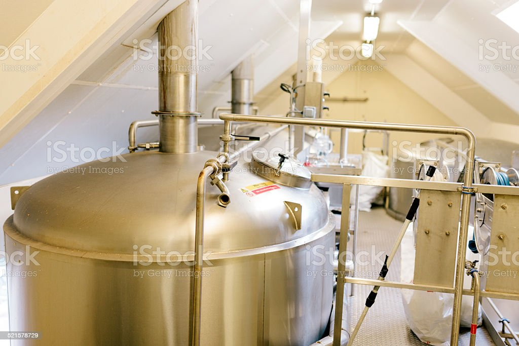 Stainless steel mash tun, contemporary brewery equipment stock photo