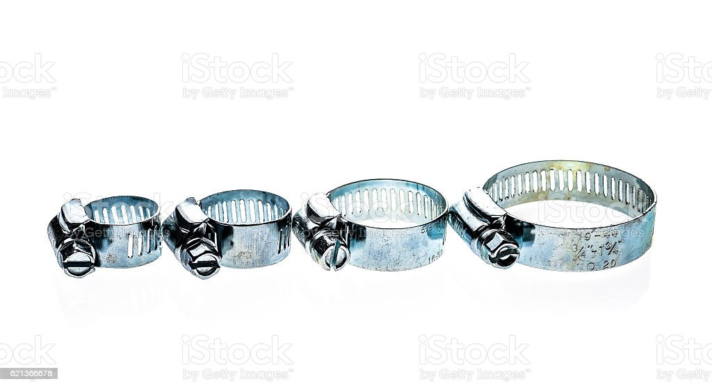 Stainless Steel Metal Hose Clamp isolated on a white background. stock photo