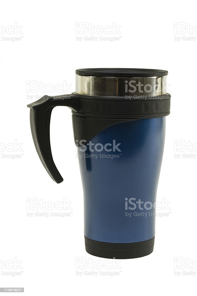 Stainless Steel Mug Painted Blue royalty-free stock photo