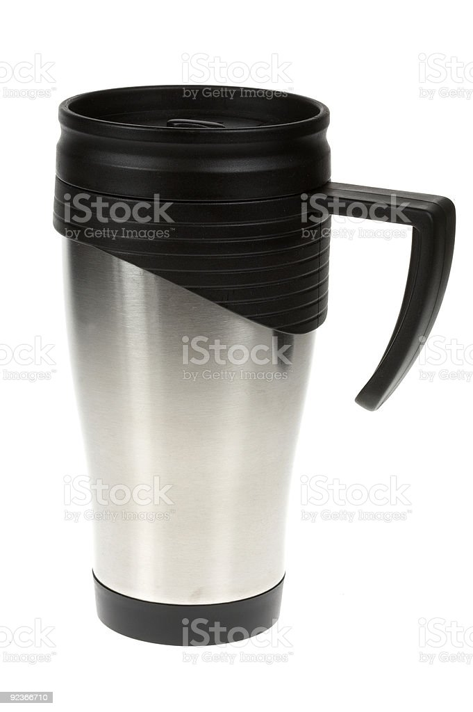 Stainless steel mug stock photo