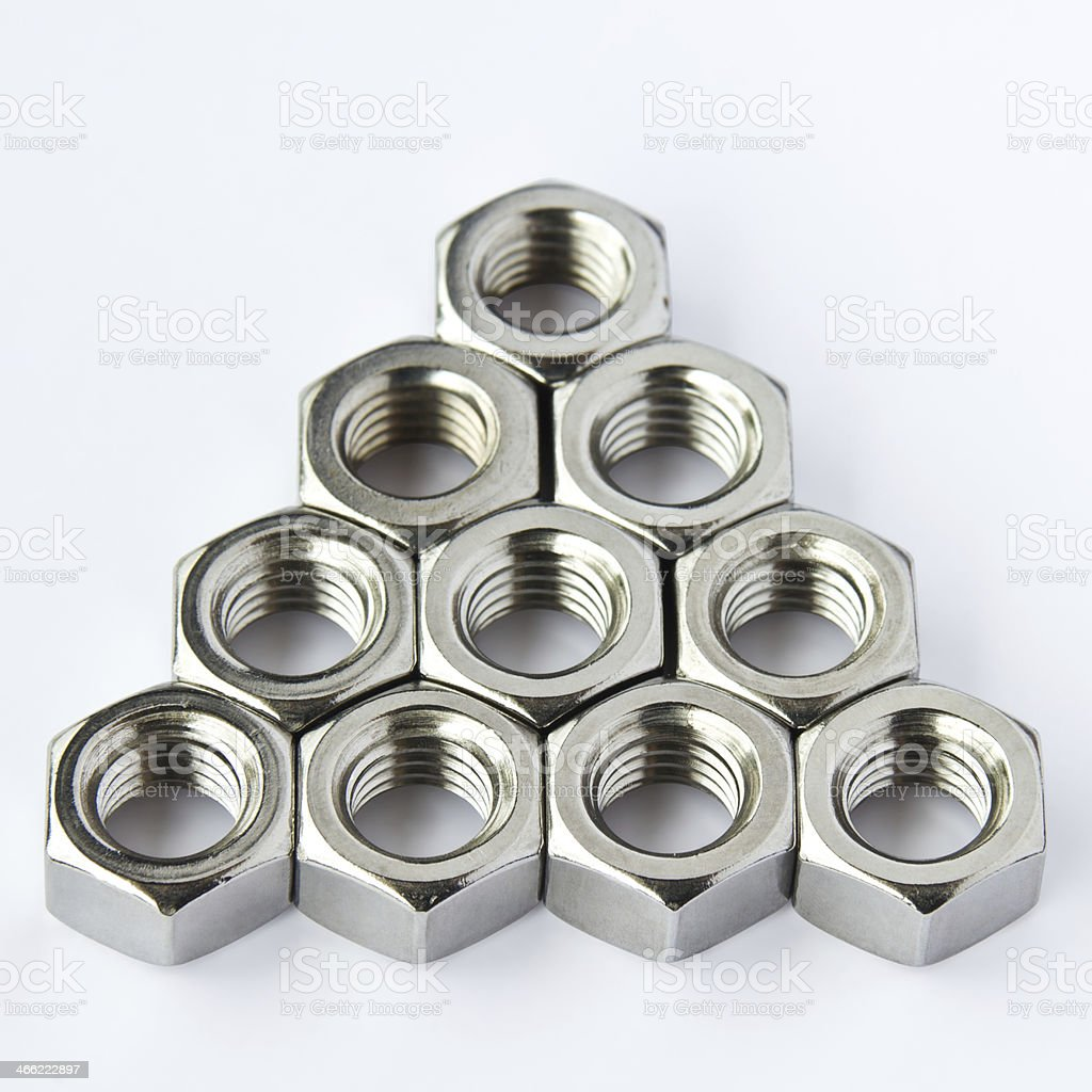 Stainless steel nuts royalty-free stock photo
