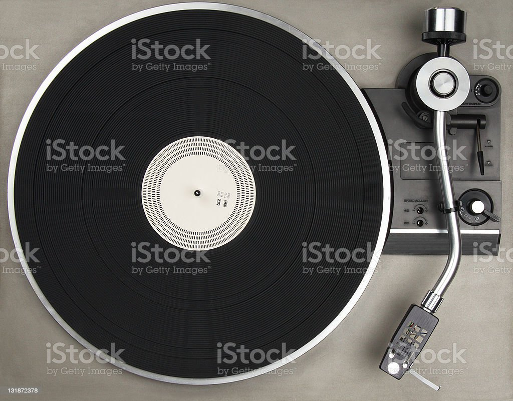 A stainless steel old school vintage vinyl player stock photo