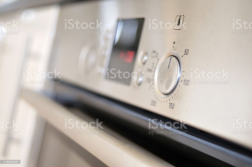 stainless steel oven detail stock photo