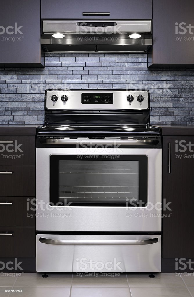 Stainless steel oven stock photo