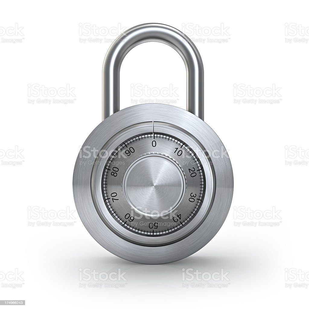 A stainless steel padlock with a numbered round dial stock photo