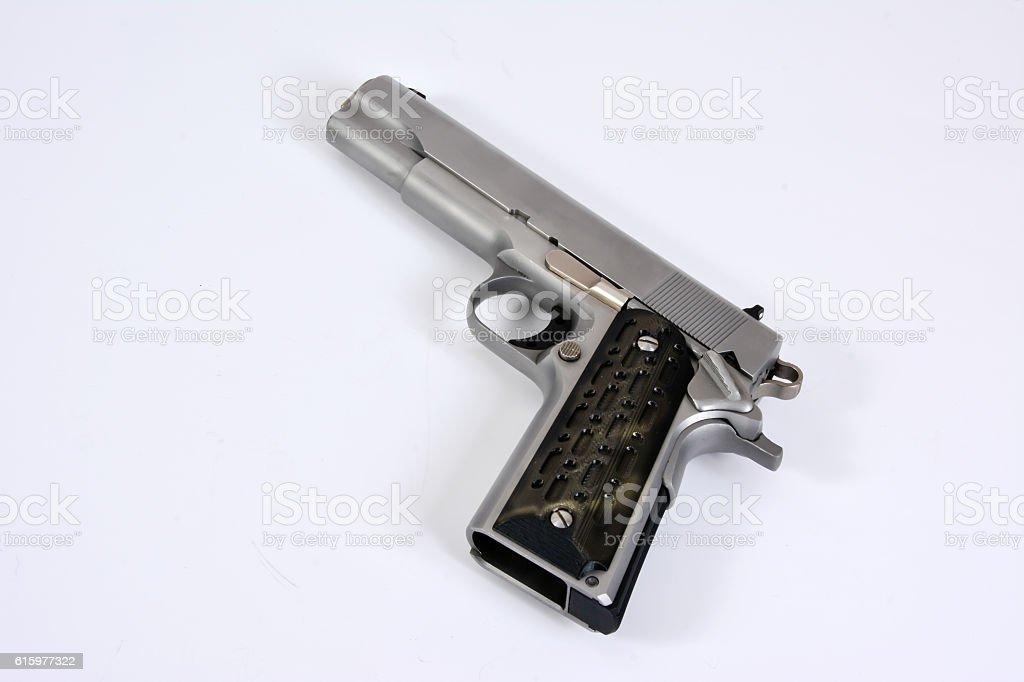 Stainless Steel Pistol stock photo