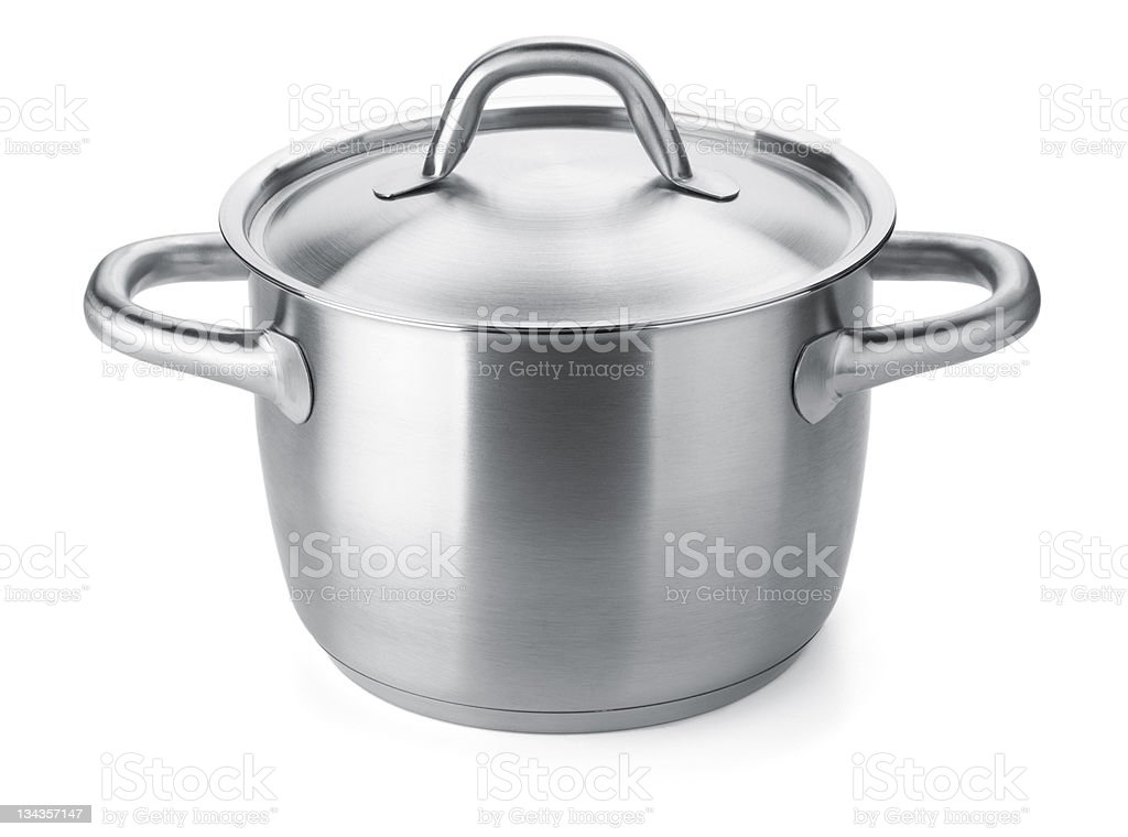 Stainless steel pot royalty-free stock photo