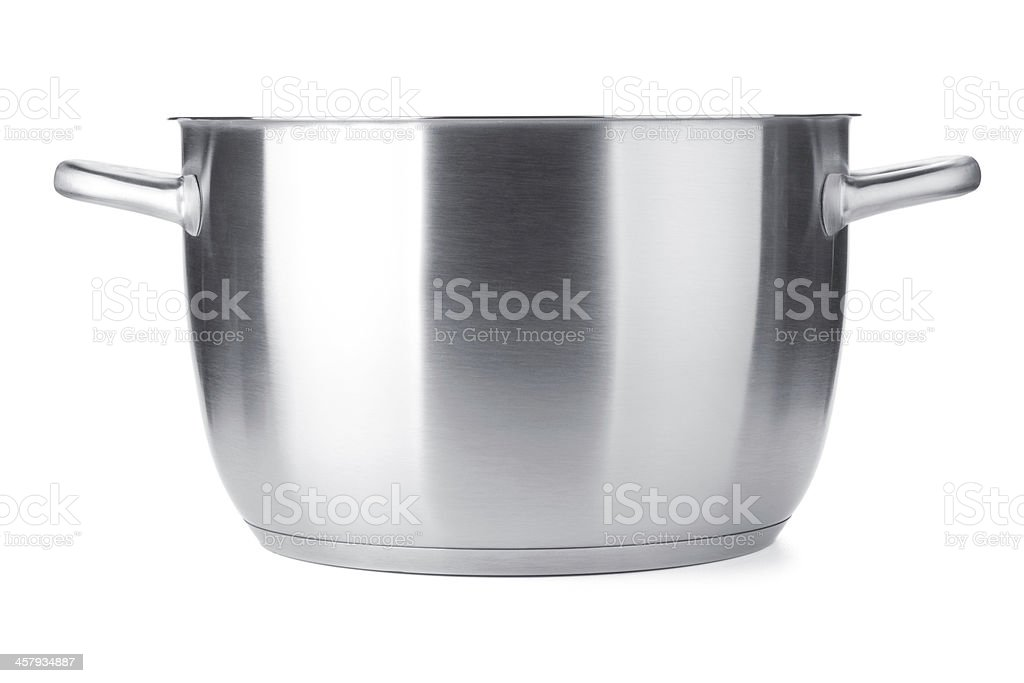 Stainless steel pot without cover stock photo
