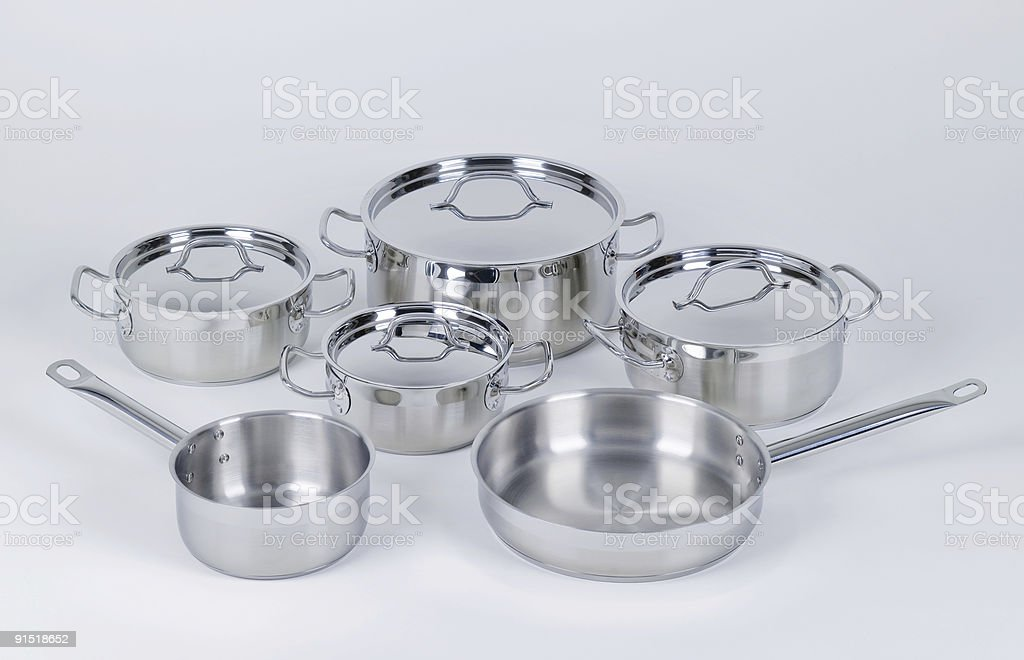 Нержавеющая сталь pots и лотков Стоковые фото Стоковая фотография