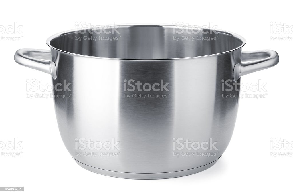 Stainless steel pots isolated on a white background royalty-free stock photo