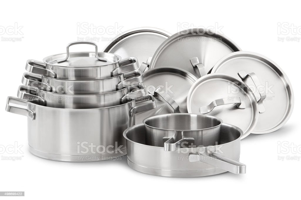 Stainless steel pots stock photo