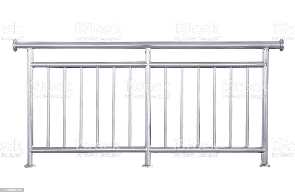 Stainless steel railing isolated. stock photo