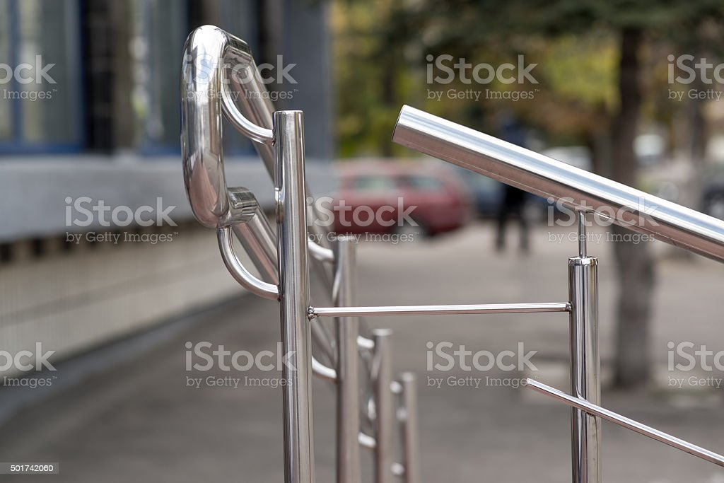 stainless steel railings on the stairs stock photo