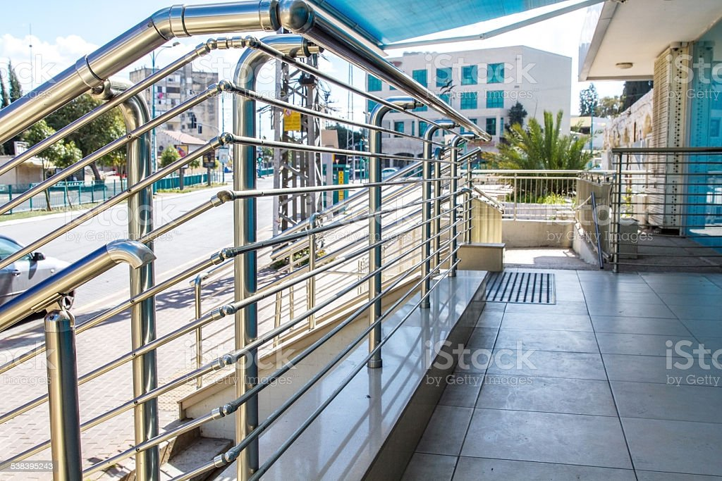 Stainless steel railings stock photo