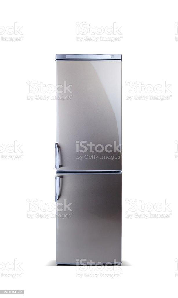 Stainless steel refrigerator isolated on white. Fridge freezer. stock photo
