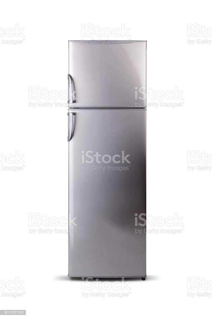 Stainless steel refrigerator isolated on white. Fridge Freezer. Top freezer. stock photo