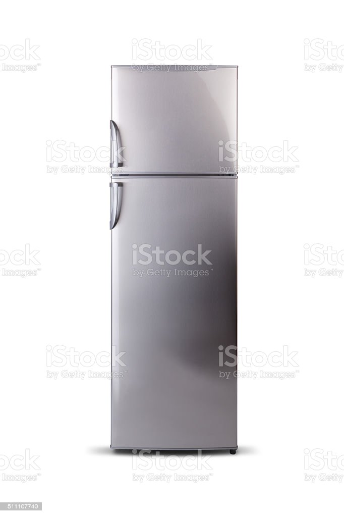 Stainless steel refrigerator isolated on white. Fridge Freezer. Top freezer. stock photo