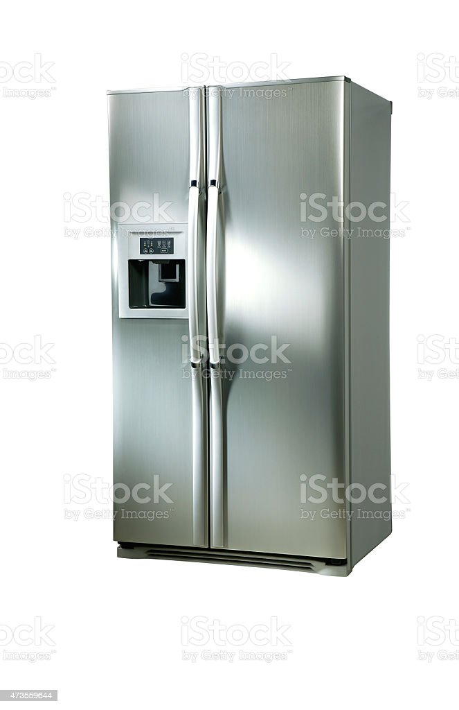 Stainless steel refrigerator on a white background stock photo