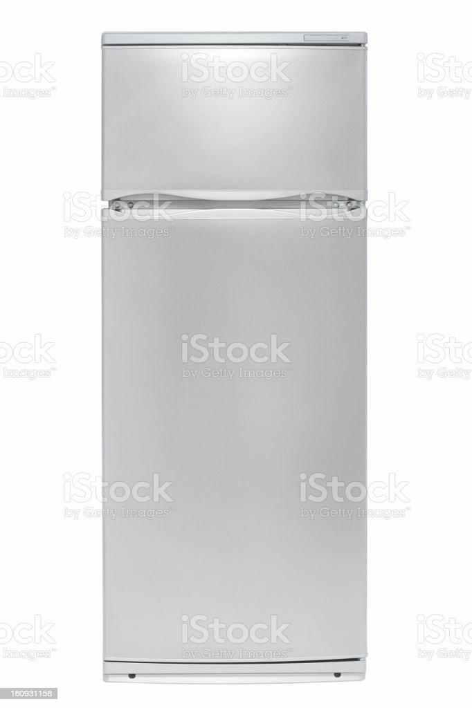 Stainless steel refrigerator with freezer on top stock photo