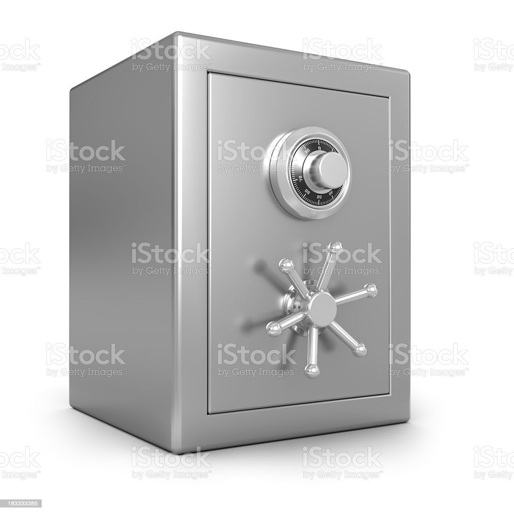 A stainless steel safe against a white background stock photo